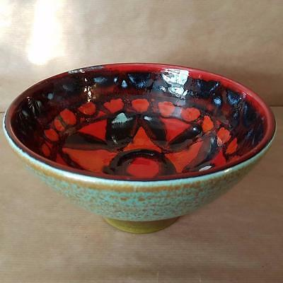 """Poole Pottery Delphis 7"""" Abstract Design Footed Bowl Shape 39 TF"""