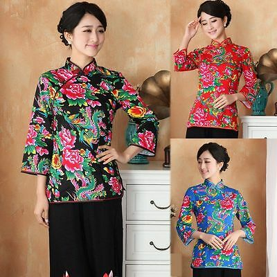 Mother's Day Gift!!!Women's 100% Cotton 3/4 Sleeve Printing Jacket Coat M-3XL