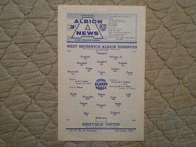 West Brom Res V Sheffield Utd Res Central League Match Programme January 1966