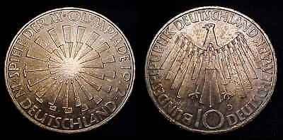 GERMANY 1972 D Silver 10 Mark Ch BU *Toned*