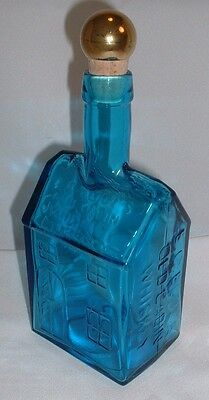 E. C. Booz's Old Cabin Whiskey Topaz Blue Glass Reproduction Decanter By Wheaton