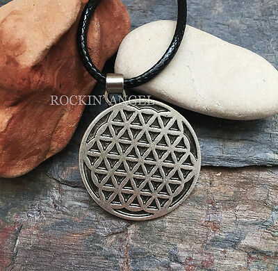 Antique Silver Plt Flower of Life Pendant Necklace Spiritual Pagan Ladies Gift