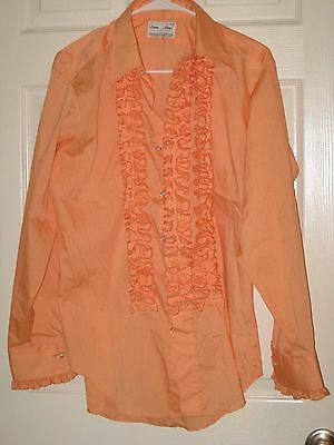 Vintage Disco Era Men's Ruffle Shirt Cantaloupe Lion of Troy USA M