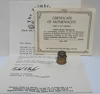 The Thimble Guild Charles Rennie Mackintosh Solid Silver Black Onyx 1990 Limited