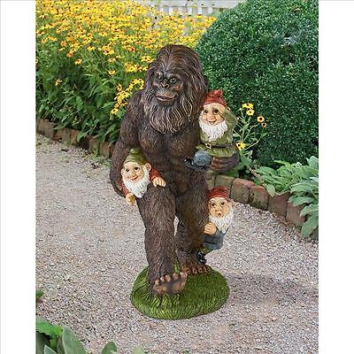 "16.5"" BIGFOOT GARDEN SCULPT - Swamp Beast Yeti  PLAYING PIGGYBACK W/ GNOMES"