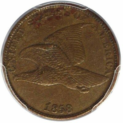 1858 1C Large Letters Flying Eagle Cent PCGS XF45