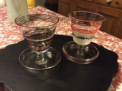 1960's 70'e Retro pair of small unusual striped gilded glasses in saucers