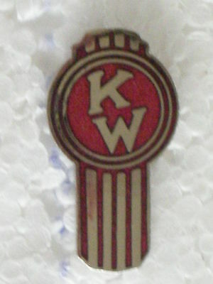 KENWORTH TRUCKS SLANT K/W PIN BADGE LARGE SIZE 7/8 in. HARD FIRED PORCELAIL