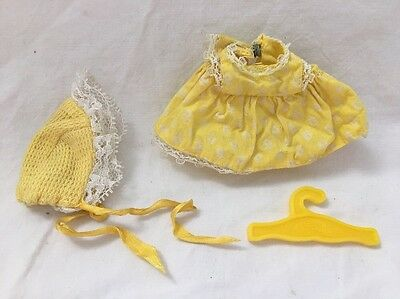 Vintage Remco SWEET APRIL Doll Outfit YELLOW FLORAL WHITE LACE DRESS & Hat
