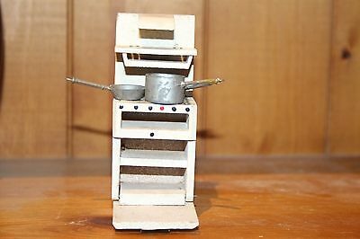 Vintage Dolls House wooden cooker with 3 metal pots