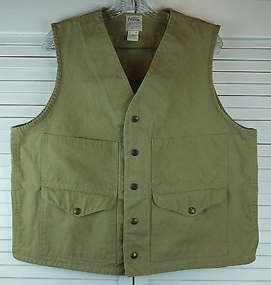 Mens C.C Filson Co Hunting Field Outdoors Vest Khaki Snap Buttons Size 42