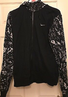 Nike Black And Grey Camouflage Zip Up Hoody Size L