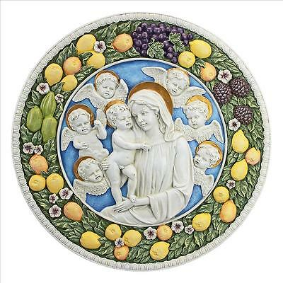 """17"""" Virgin Mary Holy Mother Madonna Surrounded By Cherubs Sculpture Wall Frieze"""