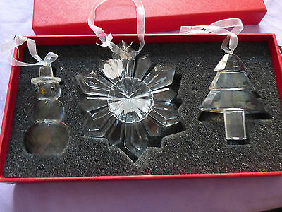 Galway Crystal ser of 3 Christmas tree decorations