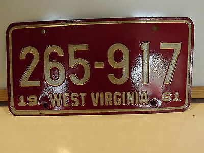 West Virginia 1961 License Plate # 265-917 White / Red