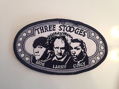 """THE THREE STOOGES 5"""" Embroidered Iron-On Patch + THREE STOOGES GOLF BALL"""
