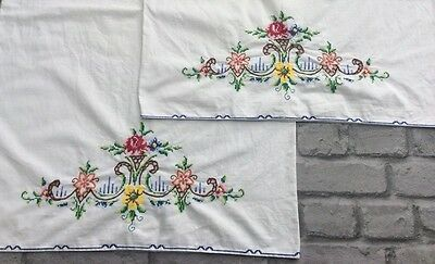 2x Lovely Large Vintage Cross Stitch Pillowcases Hand Stitched Period Living