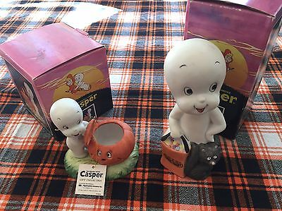 Lot of 2 VTG 1986 Casper The Friendly Ghost Halloween Porcelain Candle Holders