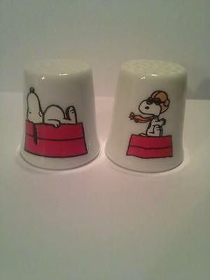 Set of 2 Snoopy Collectible Porcelain Thimbles