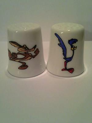 Set of 2 Wile E. Coyote & Roadrunner Collectible Porcelain Thimbles