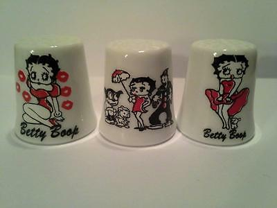 Set of 3 Betty Boop Cartoon Collectible Porcelain Thimbles #2