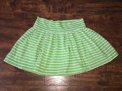 Gap Girls Green White Striped Pleated Skirt S Small 6-7