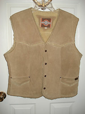 Vintage Pioneer Wear Faux Shearling & Genuine Leather Vest Size 44