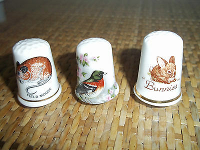 Lot/Collection 3 Wildlife English Bone China Thimbles, Rabbit, Field Mouse, Bird