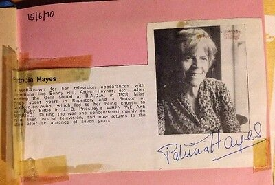 Patricia Hayes Actress Genuine Autograph Dated 1970