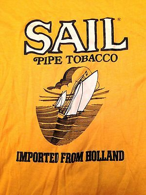 Vintage 80's softknit thin SAIL PIPE TOBACCO t-shirt yellow sz small EVC!!