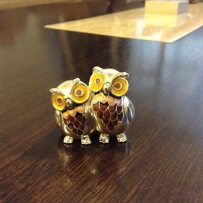 Saturno sterling silver enamel double owl figurine msrp $450