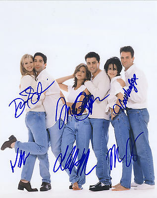 Friends TV Series Hand Signed By Cast Of All 6 10x8 !