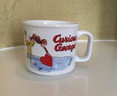 Curious George Large Red White Coffee Cup Heart Balloons Monkey 3.5 inch Mug