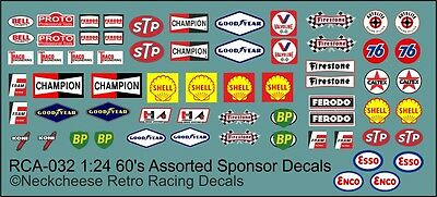 1:24 Sponsor Decals for 60's Race Cars - CanAm/Sports/Prototypes
