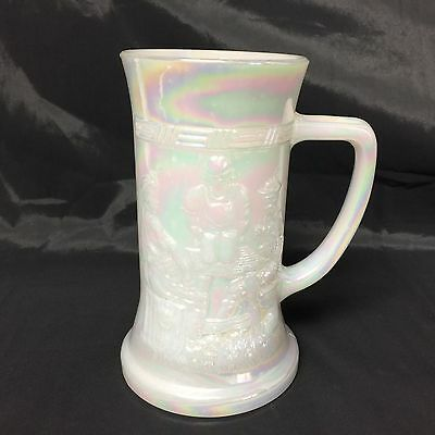 Vintage Heat Proof Federal Iridescent White Glass Opalescent Vintage Mug Stein