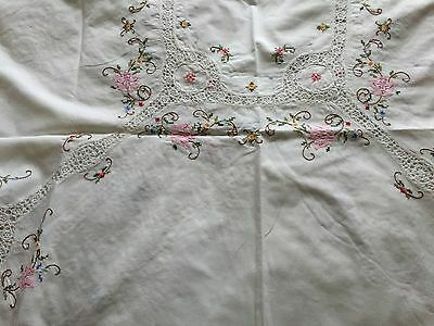"Lovely White Cotton Embroidered Oval Table Cloth Approx Size 64"" x 49"""