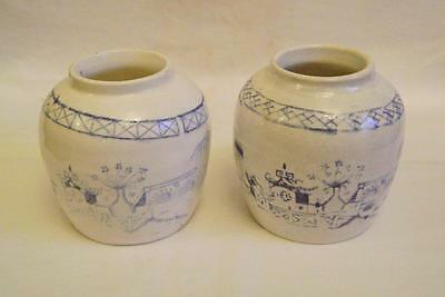 2 x Antique Chinese  Blue & White Vases Ginger Jars C19th/20th Transfer Printed
