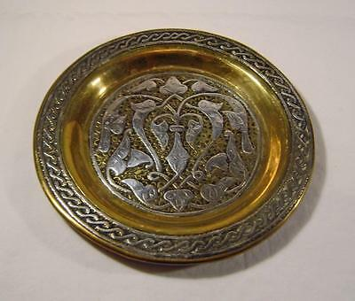 Antique Cairo Ware Brass & Silver Round Dish 11.5 cm with Arabesques