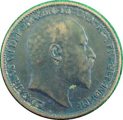 UNITED KINGDOM  U.K.  Farthing 1/4 d 1911 King EDWARD Vll about VERY FINE (5416)