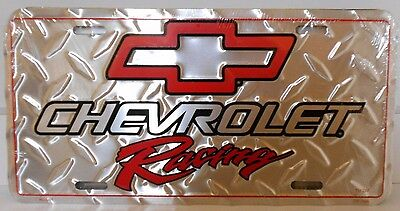 Chevrolet Racing  License Plate Alum- Red Bowtie-Silver Diamond Plate  Usa Chevy