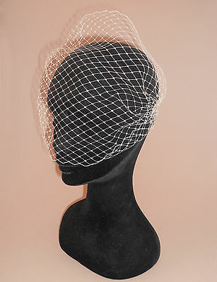 Bandeau Birdcage Veil on sml plain combs. Handmade in UK. Ivory, White or Black.