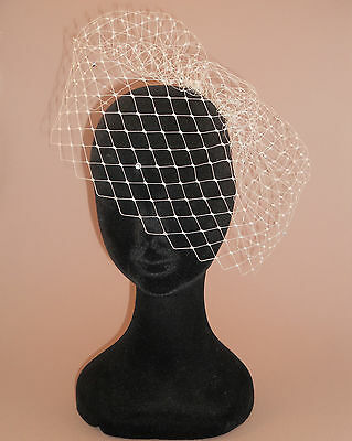 "DIAMANTE Birdcage Veil 9"" (Std Size). Ivory. Handmade in UK. Merry Widow Net."