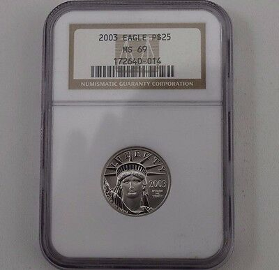 2003 Platinum Eagle $25 1/4 OZ US COIN NGC MS69