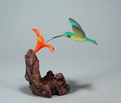 HUMMINGBIRD Sculpture with Orange Flower New Direct from JOHN PERRY 7in tall