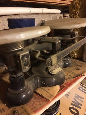 vitage ohaus scale with milk glass pans and original weights
