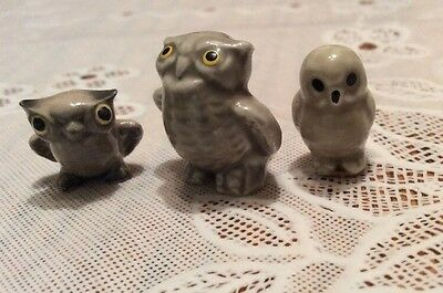 Miniature Owls Japan Porcelain Vintage Figurines