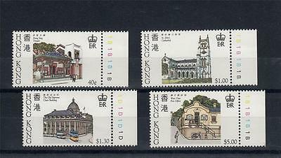 Hong Kong 1985 MNH Historic Buildings Set with Margins 4 Stamps #A1380