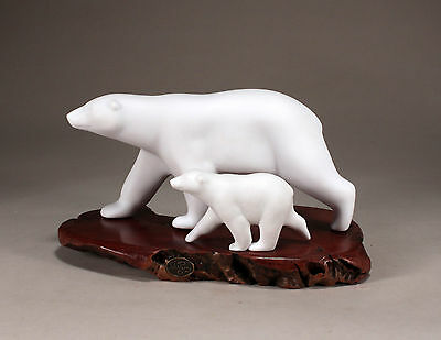 POLAR BEAR & CUB Statue New Direct from JOHN PERRY 10in long Figurine