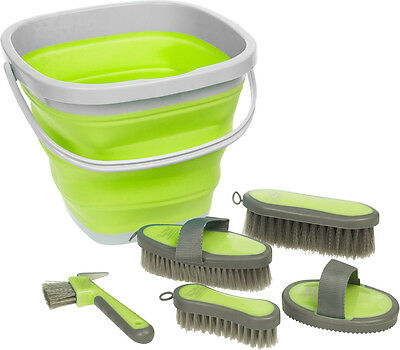 Roma Silicone Grooming Kit - 5 Piece with Collapsible Bucket - Lime, Pink, Blue