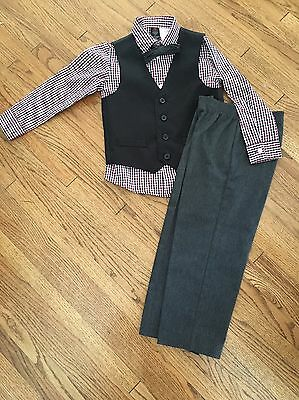Dockers Toddler Boy Fancy Holiday Suit Vest Pants Black Red. Bow Tie Size 4T